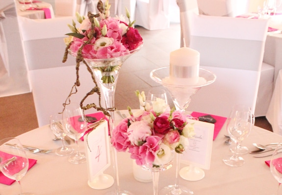 Hochzeitsblumen modern in pink